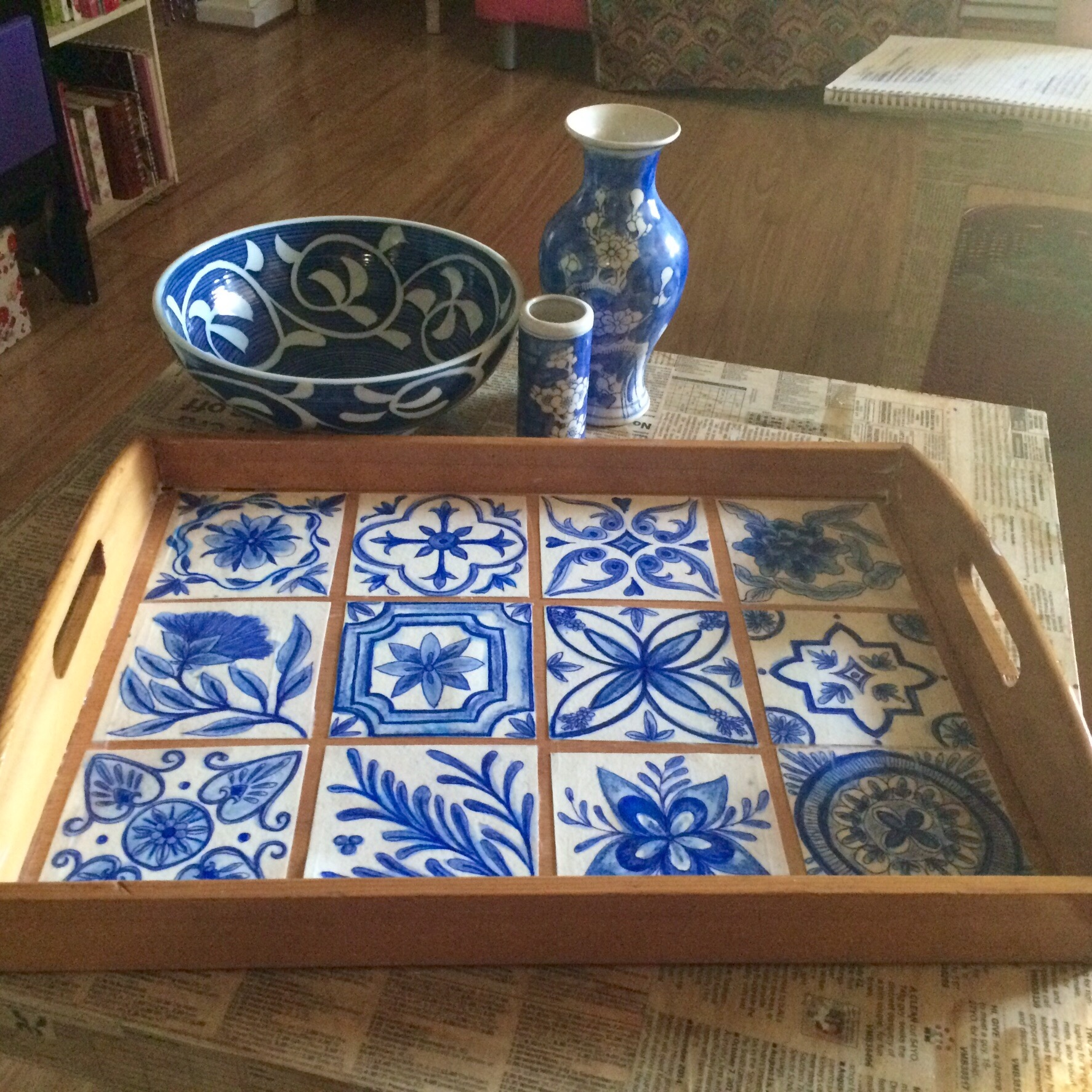 Blue and White Tile Tray | Aixie's Space