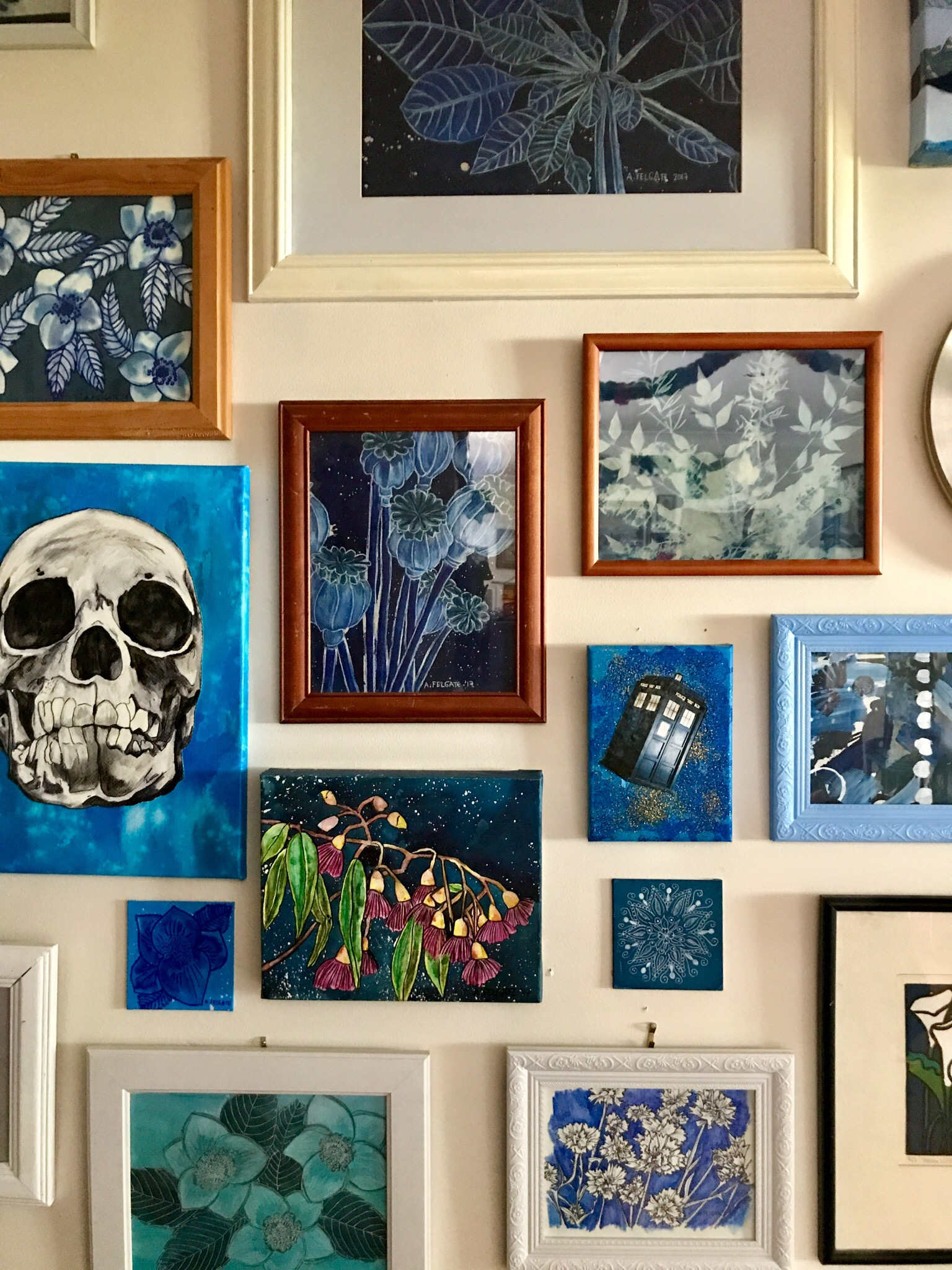 Blue and White Gallery Wall